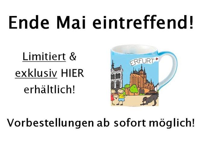 """Limitierte """"Ich liebe Erfurt"""" Tassen. Die handbemalten Tassen sind ausschließlich im Sinnekaufhaus erhältlich! (Bild: Visualisierung)"""