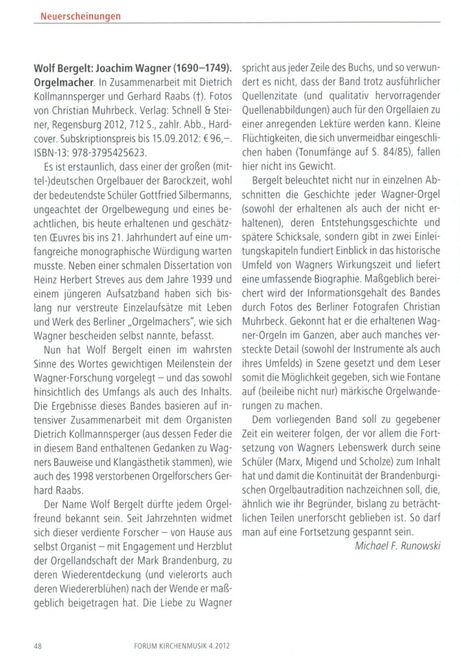 Forum Kirchenmusik, 4/2012 - Michael F. Runowski
