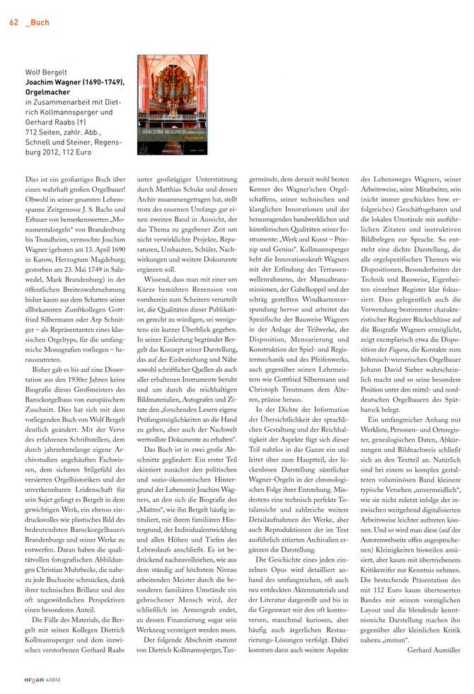 Organ (Journal für die Orgel) 4/2012 - Prof. Dr. Gerhard Aumüller