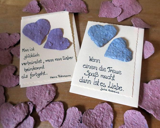 Hochzeits- oder Ehejubiläumssprüche auf naturfarbenen Karten...
