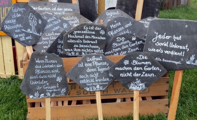 Unsere beschrifteten Schieferplatten mit Holzstecker für Gartenbeet und Blumentopf oder ...