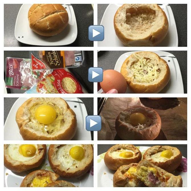 Rezept einfache gefuellte Brötchen aus dem Ofen vom Vortag