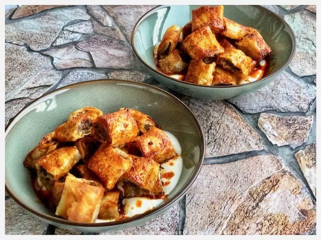 Rezept Yufka Manti / tuerkische Tortellini aus dem Ofen