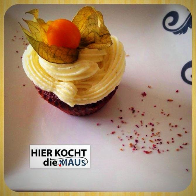 himmlische red velvet cupcakes mit Vanille-Frosting