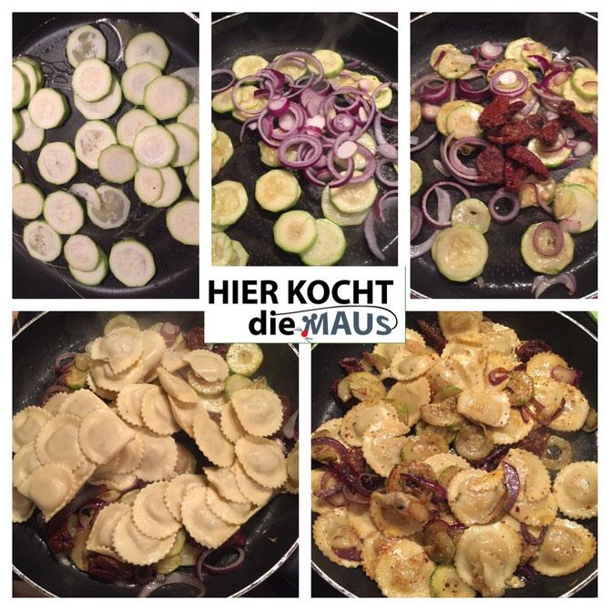 Salbei-Tortellini gefüllt mit Ricotta Trüffel mit Zucchini und Parmesan