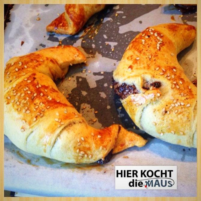 super schnelle und einfache Nutella-Zimt-Croissants