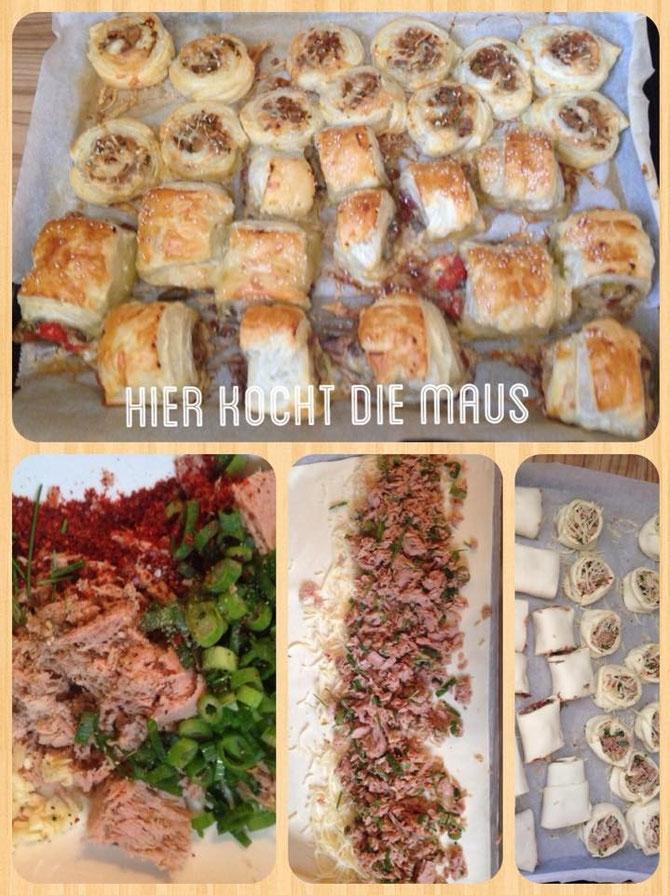 Blaetterteigtaschen mit Tunfisch-Fuellung und Kaese