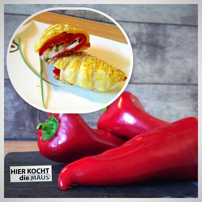 Rezept Gefuellte Spitzpaprika mit Feta im Blaetterteigmantel | schnell und einfach