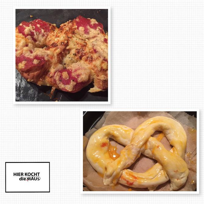 Rezept Pizza Brezeln mit Kase gefüllt und Salami - Pizza Pretzels