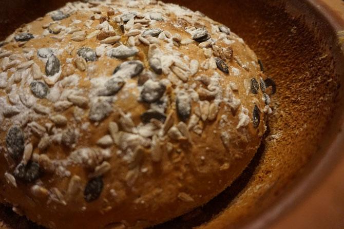 Rezept saftiges Kuerbiskern Brot mit Samen