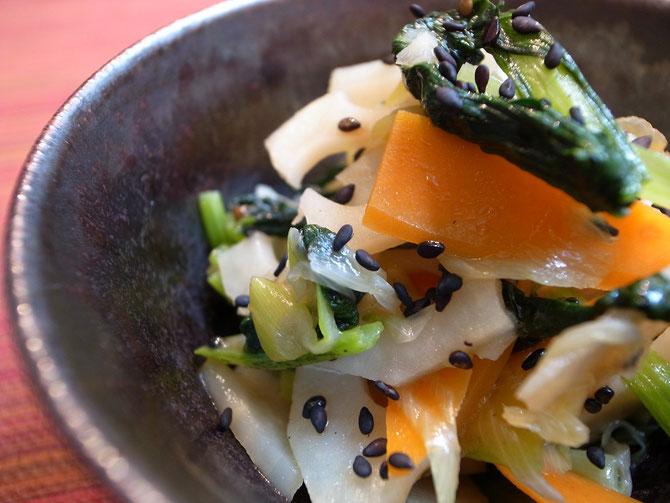 蓮根と小松菜の塩きんぴら