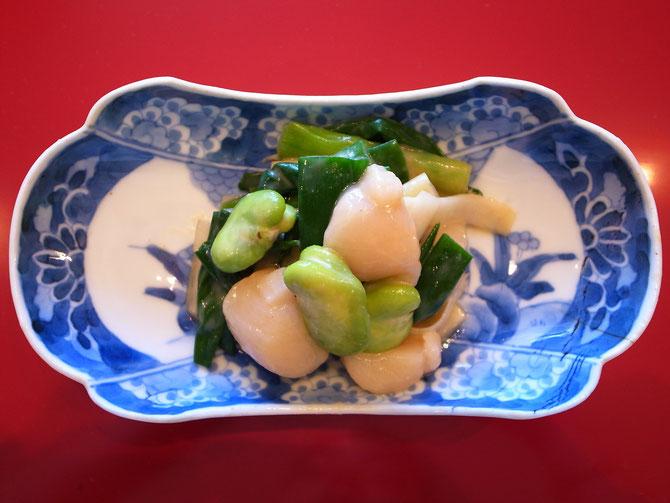 生貝と春野菜の芥子酢味噌和え