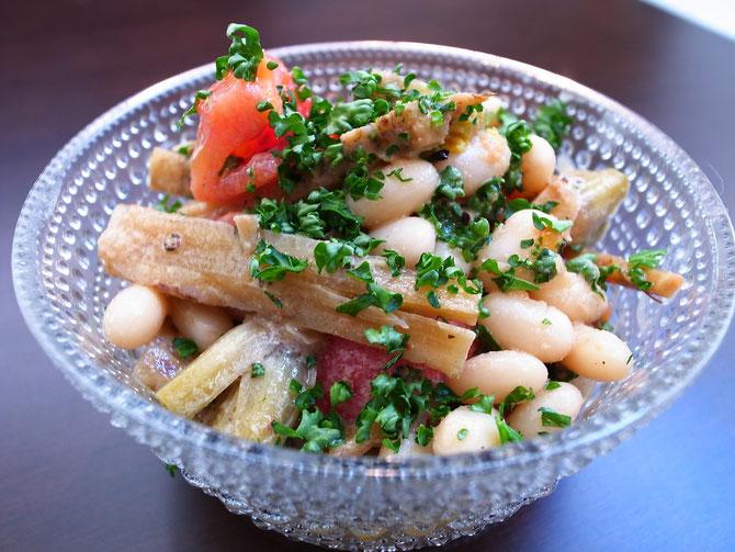 白いんげん豆と牛蒡のサラダ
