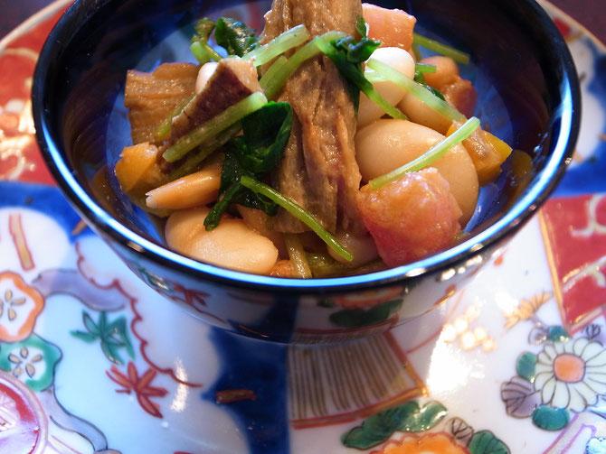 白いんげん豆と酢牛蒡のサラダ