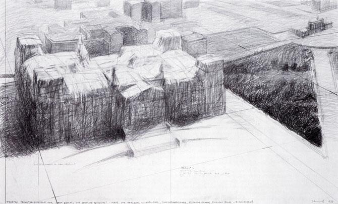 Christo, Wrapped Reichstag (Project for West Berlin), Zeichnung 1973, 91 x 152 cm, Bleistift und Wachskreide auf Papier // Foto: André Grossmann // © Christo 1973