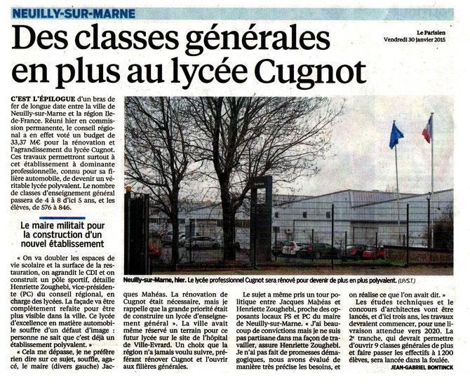 Article du Parisien du 30/01/2015.