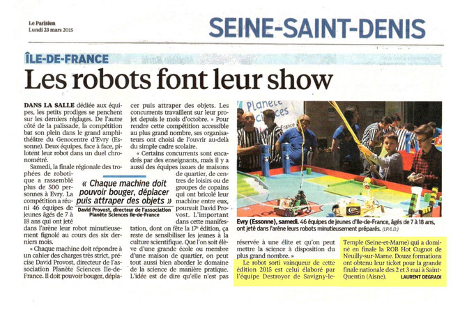 Article du Parisien du 23/05/2015