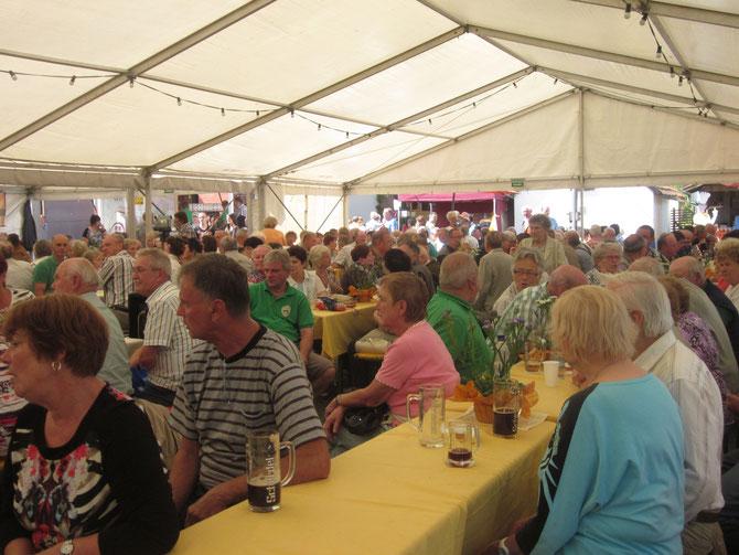 Viele Gäste bestaunten den Auftritt des Gettengrüner Chors zum Dorffest 2014