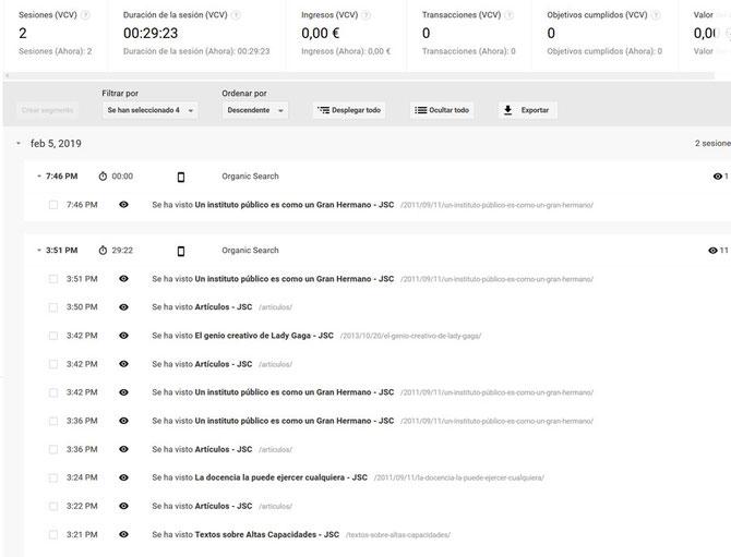 Informe SEO: análisis de una web mediante la herramienta Google Analytics. Comportamiento de usuarios. Exploración de usuarios.