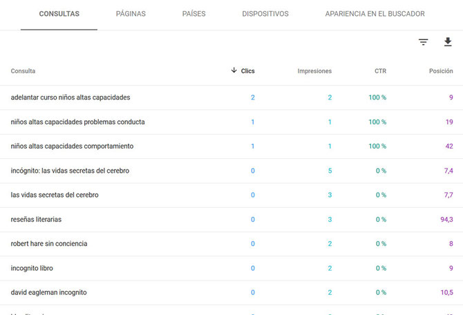Informe SEO: análisis de una web mediante la herramienta Search Console. Informe Rendimiento (consultas).