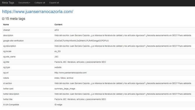 Análisis SEO de una web con Web Developer: visualización de los metadatos