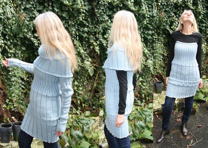 dreiteiliges Feen-Winterkleid aus secondhand Strickgarn, Entwurf und Fertigung Beate Gernhardt, Foto: Henriks Porciks
