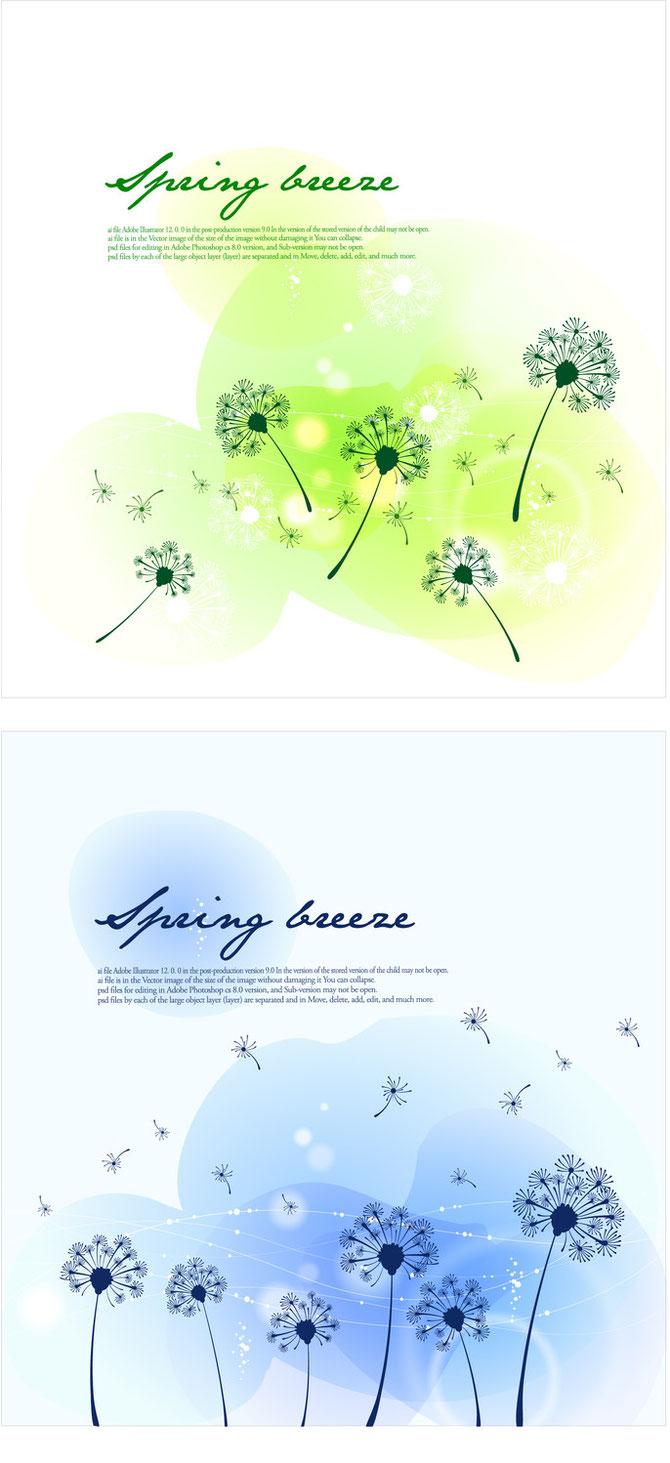 季節替わりを表すタンポポのイラスト seasonal changes landscape dandelion vector