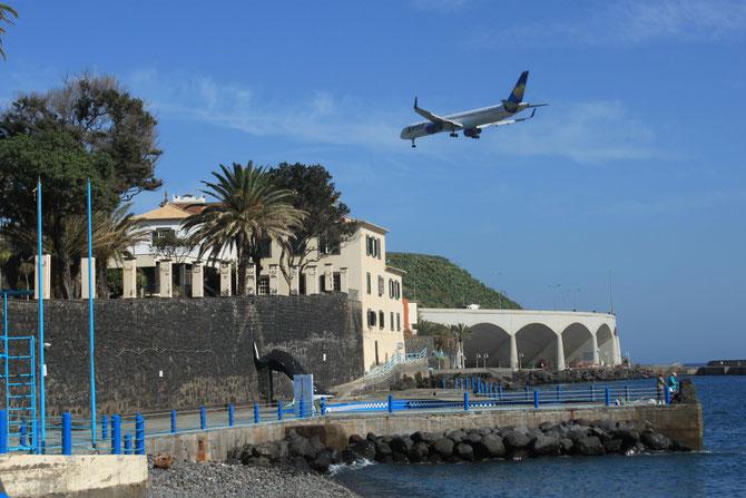 Plane landing at Funchal airport, Madeira
