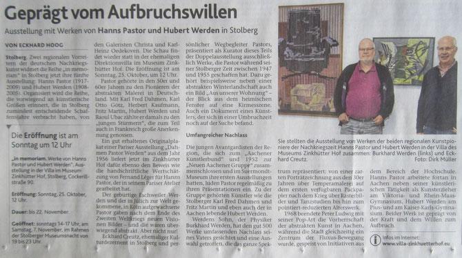 Pressegespräch am 2. Oktober 2015  - Artikel im Kulturteil der Aachener Zeitung von E. Hoog