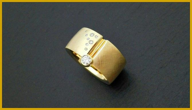 Ring 750 Gold gelb Brillanten Masswerk Meistergoldschmiede Konstanz