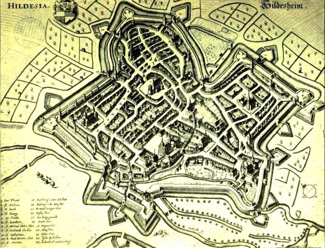Hildesheim nach Merian 1653