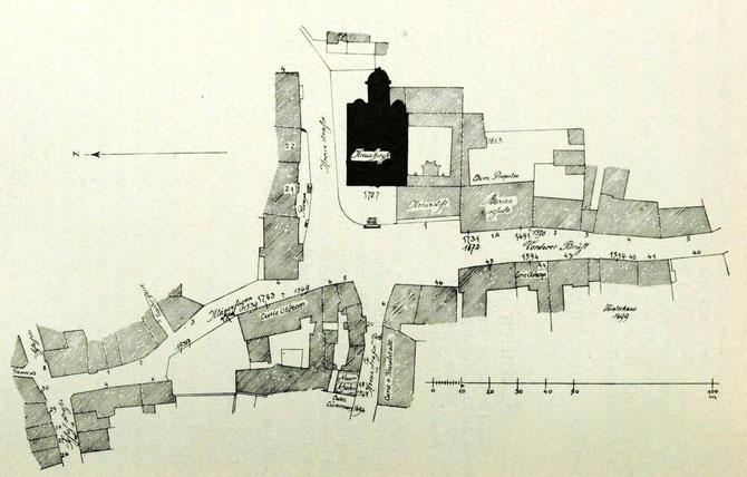 Vorderer Brühl, Lageplan an der Kirche zum hl. Kreuz
