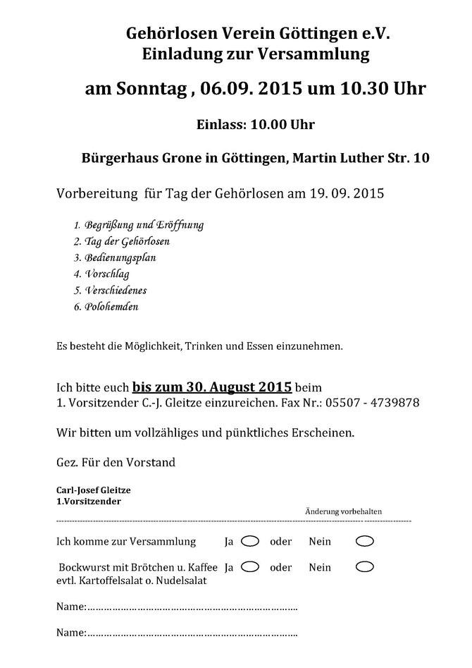 einladung zur versammlung gv göttingen e v - einladung gv 2013