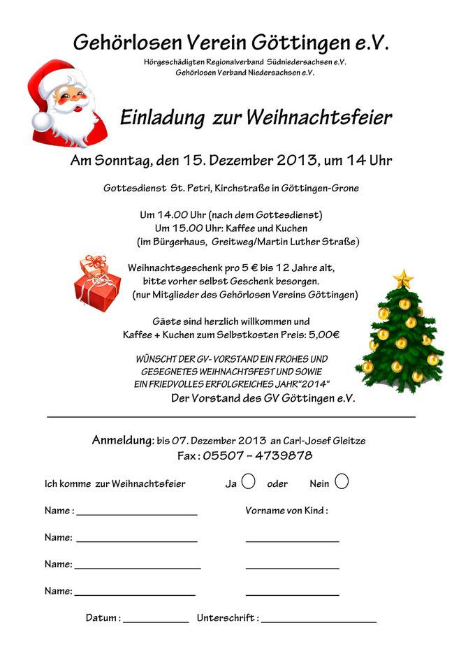 Einladung Weihnachtsfeier Verein.Gv Einladung Zur Weihnachtsfeier Gv Göttingen E V