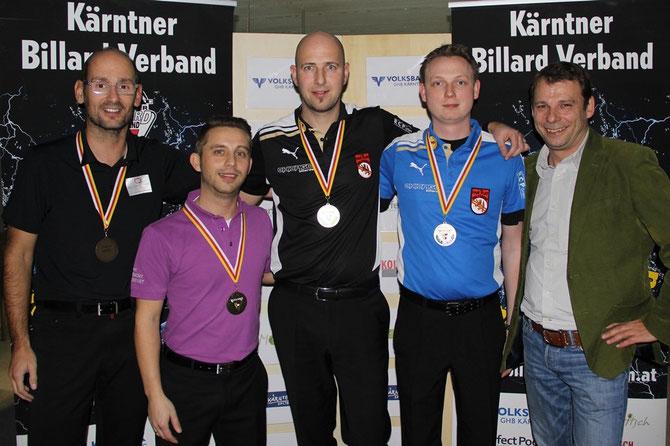 ©Philip Nessmann (Foto).  Von Links: Norbert Filippits (3.), Andreas Brezic (3.), Georg Höberl (1.), Christian Stadler (2.) und KBV-Präsident Michael Neumann
