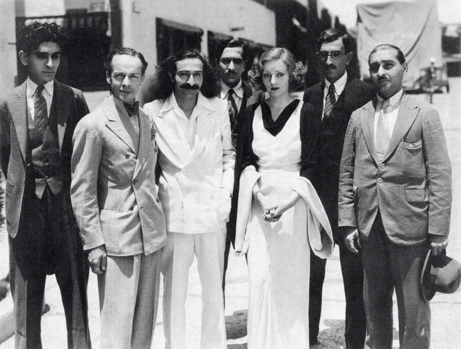 ( L-R ) Adi Jrn., Quentin Tod, Meher Baba, Beheram, Tallulah Bankhead, Chanji and Kaka at Paramount Studios. Photo taken on this day or the 31st May 1932.