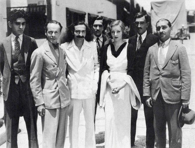 ( L-R ) Adi Jrn., Quentin Tod, Meher Baba, Beheram, Tallulah Bankhead, Chanji and Kaka at Paramount Studios. Photo taken on this day or the 31st May 1932.