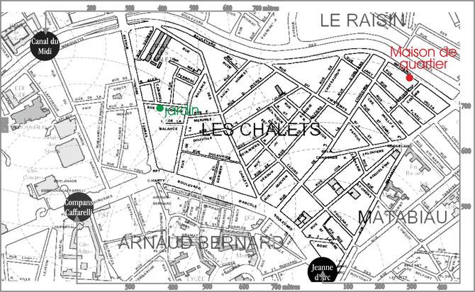 Distances des stations : les pointillés concentriques autour des stations sont équidistants de 100 mètres. Au jardin du Verrier, vous êtes à 400 mètres, à vol d'oiseau, de la station Compans-Caffarelli comme de Canal du Midi. Cliquez pour agrandir.