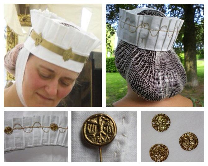 Gebende gefertigt von Iris, Gebendenadel und Medaillons gefertigt von A.Vogel nach Fund