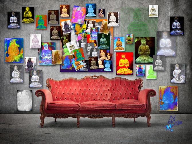 La série et le montage des buddhas en situation