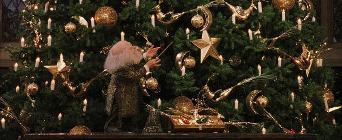 Le professeur Fltiwick installe le sapin dans la Grande Salle (Harry Potter à l'école des sorciers - 2001)