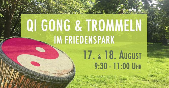 Qi Gong & Trommeln im Friedenspark • 17./18.08.2019 • Friedenspark Leipzig • Trommelschule Yngo Gutmann