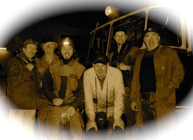 Werkstätten Team und ihr Leiter; Hr. Ing. Glettler (4.v.l.), von links: Horst Knopp, Wolfgang Müller, Joachim Lanner, Hartmut Glettler, Thomas Pusch, Ewald Mosauer