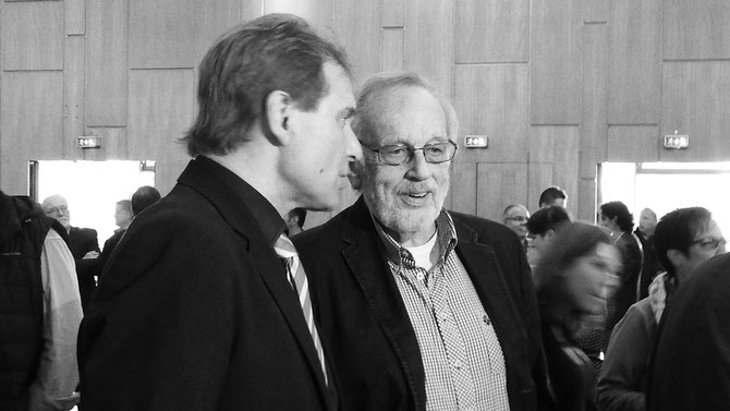 """Letzte Gespräche unter """"has beens"""", zwei, deren politische Karriere in Solingen Geschichte ist, Noch-OB Norbert Feith und CDU-Ex-Landtagsabgeordneter Rolf Westkämper."""