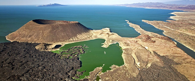 Lake Turkana, with South island in the back ground and Nabuyatom volcano in the foreground. Northern Kenya