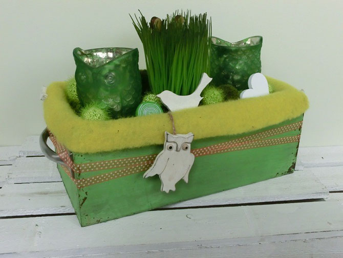 Tischdeko Gras-Eulen
