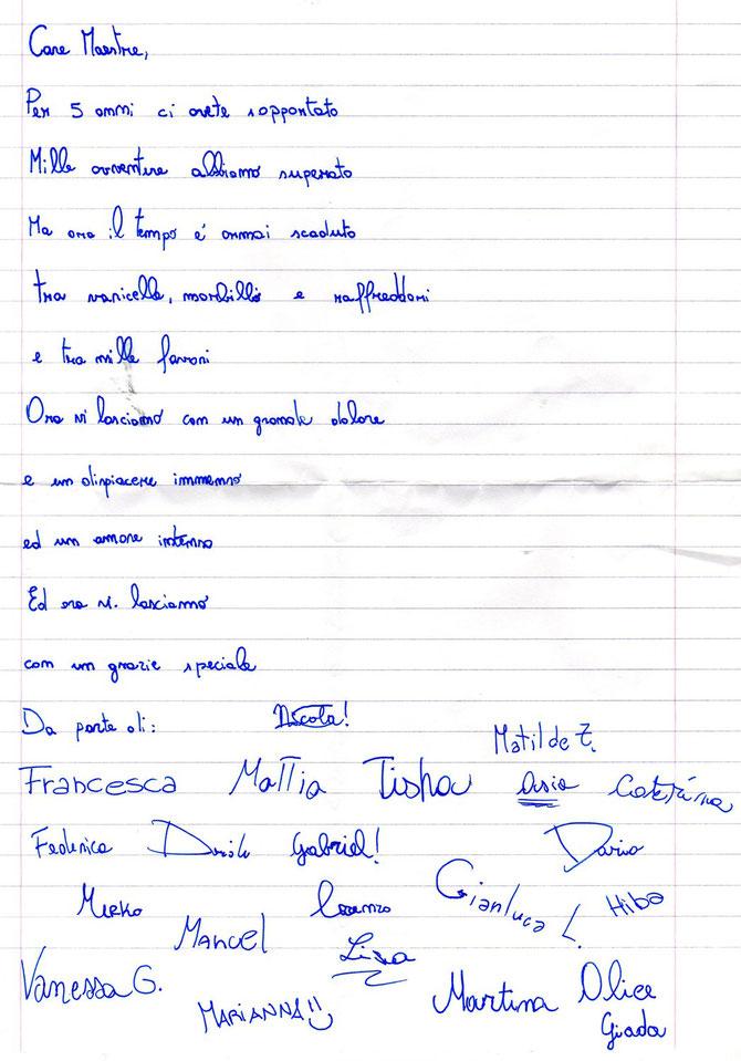 lettera festa finale classe quinta 06/06/2013