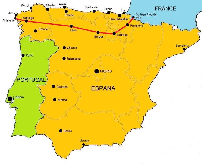 Camino De Santiago Frances Route Map on