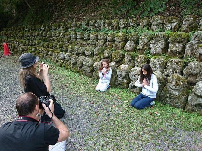 Pray for .......   fascinatingin Otagi nenbutsu-ji temple, fascinating stone sculptures