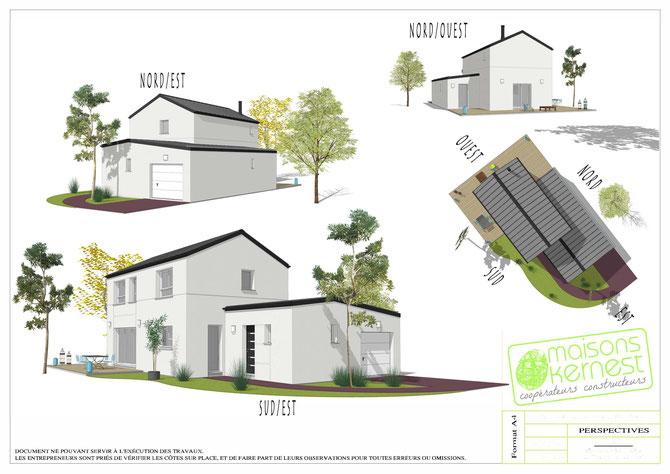 maison moderne à étage avec toiture traditionnelle en zinc et enduit blanc